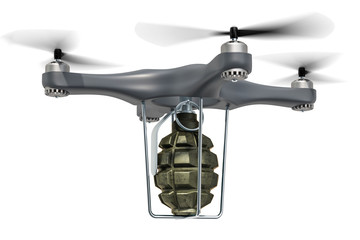 Military Drone with hand grenade, 3D rendering