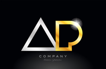 gold silver alphabet letter ap a p combination for logo icon design