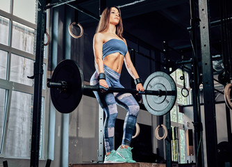 Beautiful athletic fitness woman wearing sportswear doing exercise with a barbell while standing on a sports pedestal in a gym