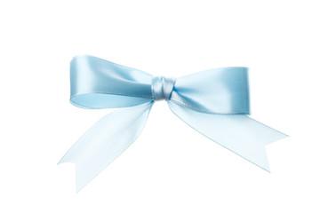 Beautiful blue bow isolated on white background. Insulation.