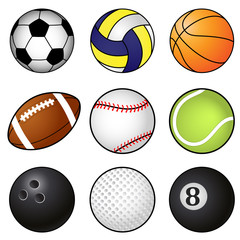 Collection Of Nine Coloured Sports Balls