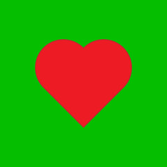 Heart at the green background