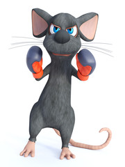 3D rendering of a cartoon mouse wearing boxing gloves.