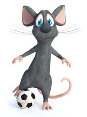 3D rendering of a cartoon mouse kicking soccer ball.