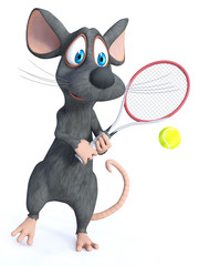 3D rendering of a cartoon mouse playing tennis.