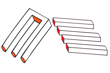 Illusory impossible trident also known as an impossible fork, a blivet, or the devil tuning fork and optical illusion objects or undecipherable figures. Optical illusion vector illustration.