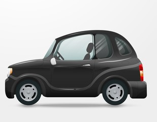 Mini car vector on white. View from side. Kei car illustration