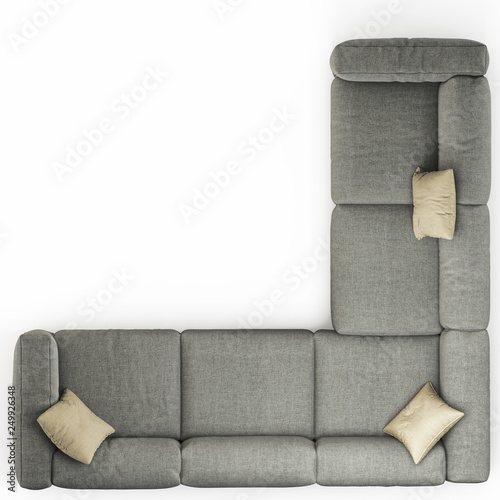 Gray Corner Sofa With Pillows On A White Background Top View Rendering