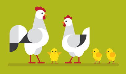 Wall Mural - Chicken family flat illustration.