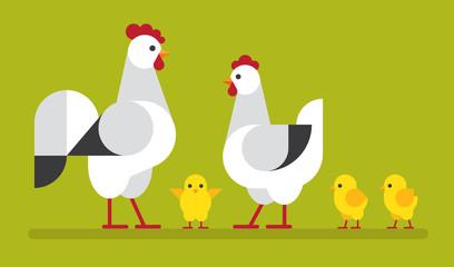 Fototapete - Chicken family flat illustration.