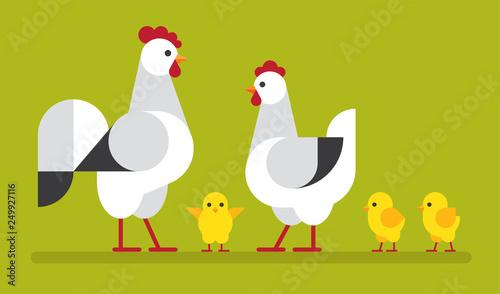 Wall mural Chicken family flat illustration.