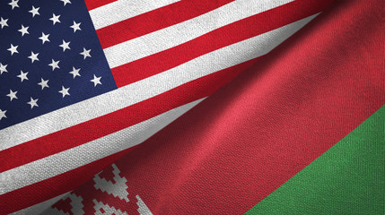 United States and Belarus two flags textile cloth, fabric texture