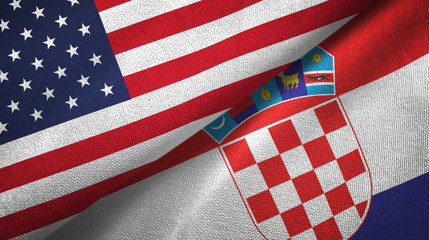 United States and Croatia two flags textile cloth, fabric texture