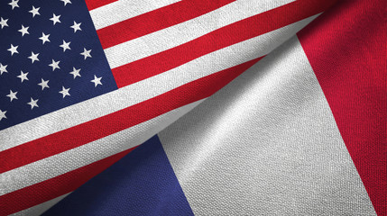 United States and France two flags textile cloth, fabric texture
