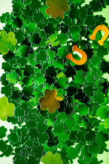 St Patricks Day Symbols such as shamrocks, horseshoes, leprechauns, coins and hats