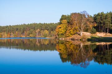 Autumn lake at the shining sun