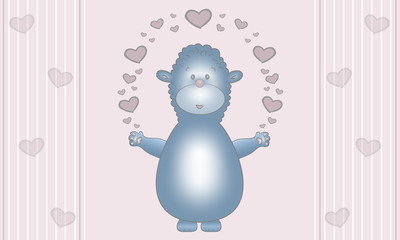 cute illustration design of blue fantasy animal creature, with hearts, on pastel pink background