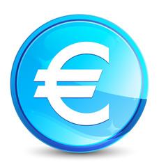 Euro sign icon splash natural blue round button