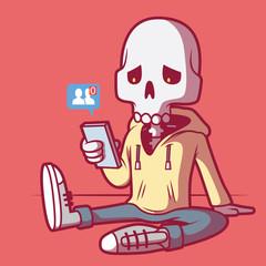Social media death vector illustration. Social media, sharing, connection, technology, social design concept