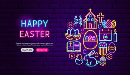 Happy Easter Neon Banner Design