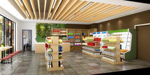 3d render supermarket