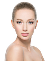 Beautiful face of young woman with perfect health fresh skin
