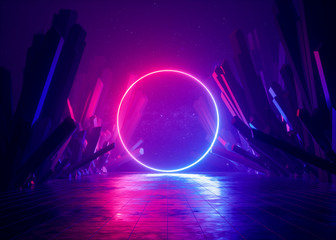 3d render, abstract background, cosmic landscape, round portal, pink blue neon light, virtual reality, energy source, glowing round frame, dark space, ultraviolet spectrum, laser ring, rocks, ground Wall mural