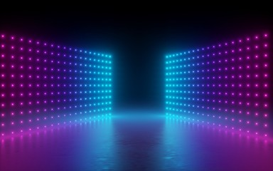 3d render, abstract background, screen pixels, glowing dots, neon lights, virtual reality, ultraviolet spectrum, pink blue vibrant colors, catwalk fashion podium, laser show, stage, isolated on black