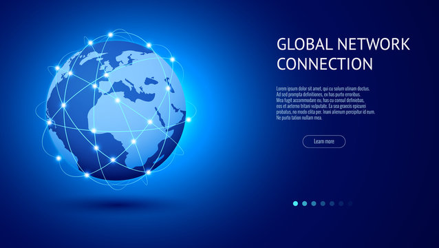 Global network connection concept. Best Internet, global business. World map point and line composition vector illustration