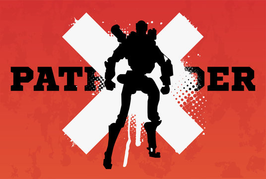 Apex legends, Pathfinder character, battle royale concept, vector illustration in grunge style. Apex legends, character Pathfinder ( robot)