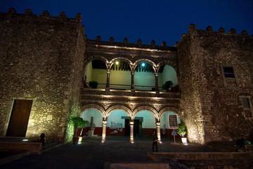 Palace of Cortes (Palacio de Cortes) at night, Cuernavaca, Morelos, Mexico.