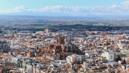 Cathedral of Granada, view from Alhambra