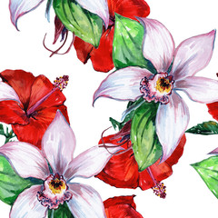 Watercolor flower, exotic flower. Seamless floral background - illustration.