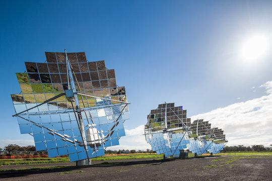 Solar panel displays at a solar energy farm facility in Victoria, Australia