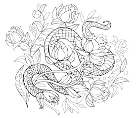 Stylized snake in jungle. Black and white page for coloring book. Pattern for modern print, embroidery, Henna, Mehndi, tattoo and decoration. Hand-drawn vector image on computer by graphic tablet.