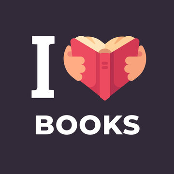 I love books flat illustration. Hands holding a book in the shape of a heart.