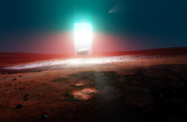 New energy source light beam on Mars, levitating rock, 3d illustration