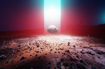 Unknown energy source light beam from the sky and levitating rock found on Mars rocky landscape, 3d illustration