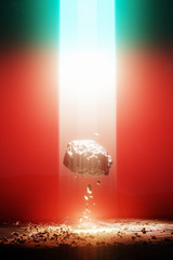 Eenergy source light beam from the sky, levitating rock, red 3d illustration
