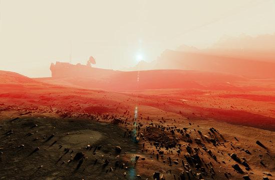 Red planet Mars misty sunset landscape, desert rocks, space base radar dish, 3d illustration
