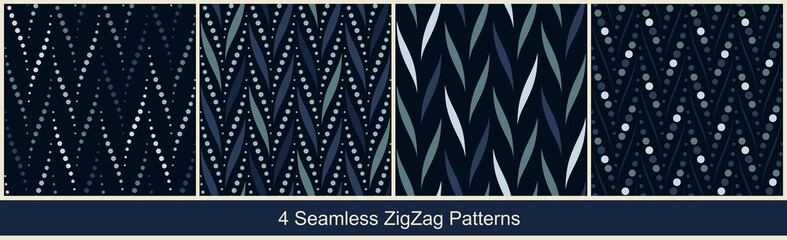Seamless vector zigzag patterns with abstract geometric elements in monochrome blue colors on black background. Collection of abstract prints
