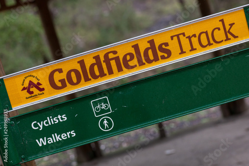 Sign for the Goldfields track near Ballarat in Victoria