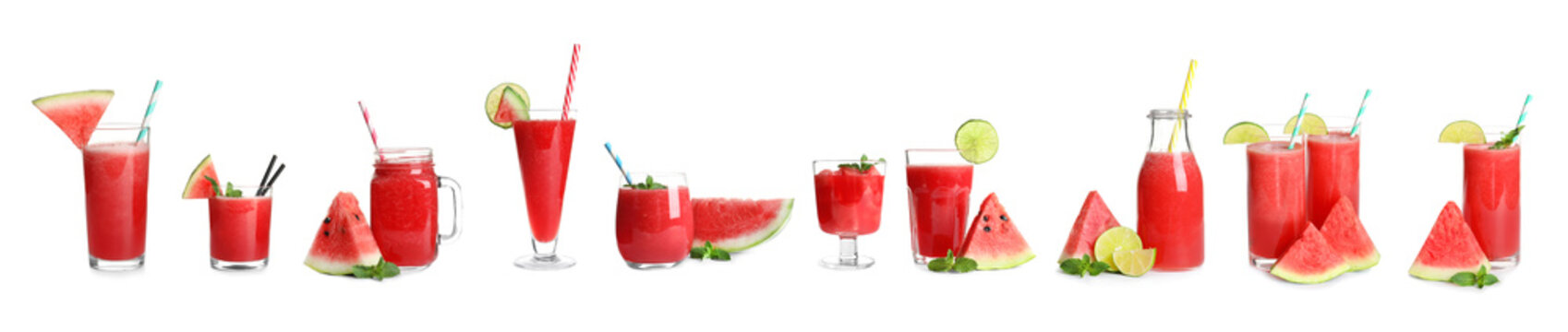 Set of yummy watermelon cocktails in different glassware on white background