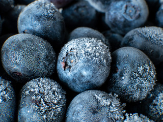 Healthy Breakfast: Close up of frozen blueberries with ice crystals