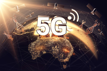 Global connectivity concept with worldwide communication network and 5G letters standing above territory of Australia. 3D rendering