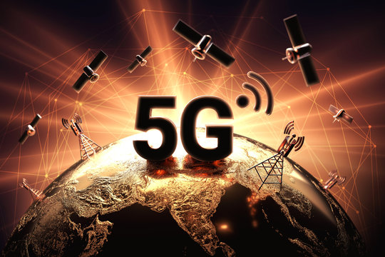 Conflict around 5G network illustrated with closeup on the globe and red and orange flare. War on 5G network concept. 3D rendering
