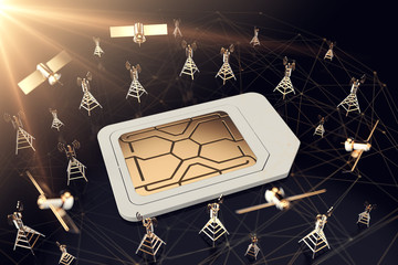 Sim card surrounded by network towers and satellites. Blurry closeup shot. Fast mobile internet technology concept. 3D rendering