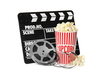 Popcorn, clapper and reel isolated on white. Cinema snack