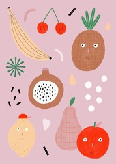 Happy fruits pattern