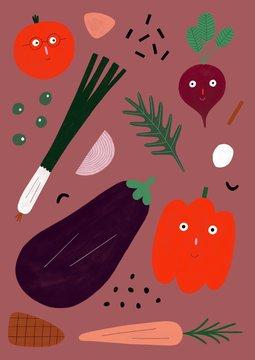 Happy vegetables pattern